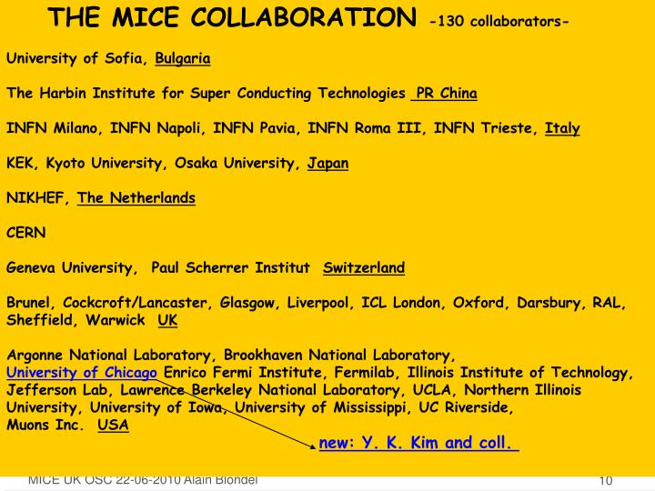THE MICE COLLABORATION