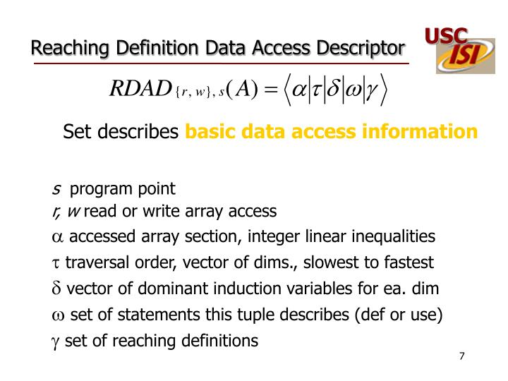 Reaching Definition Data Access Descriptor