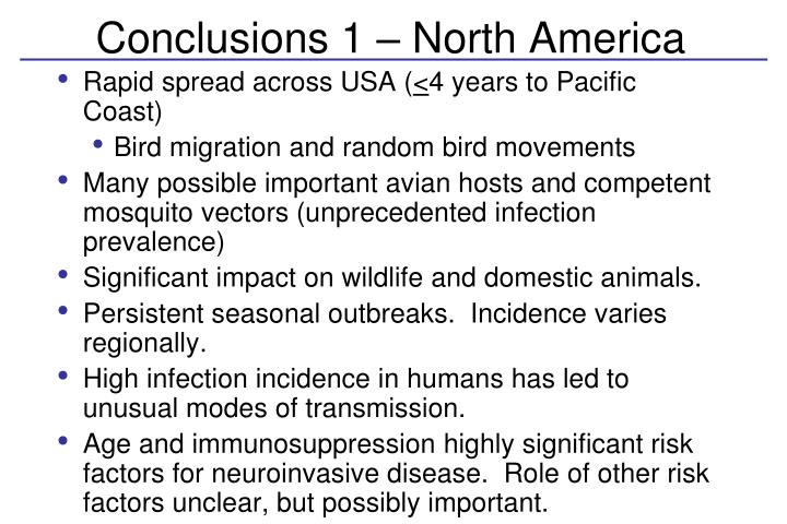 Conclusions 1 – North America