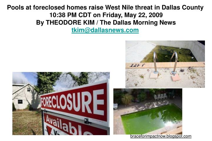 Pools at foreclosed homes raise West Nile threat in Dallas County