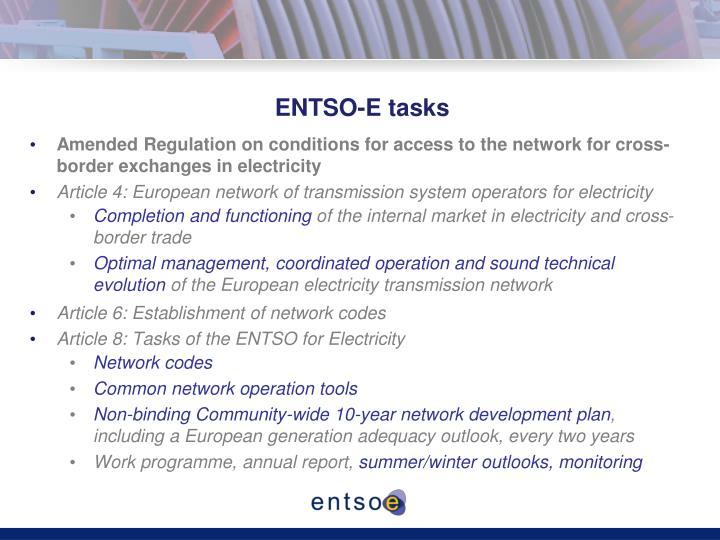 ENTSO-E tasks