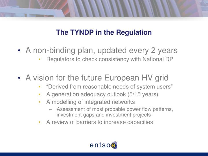 The TYNDP in the Regulation