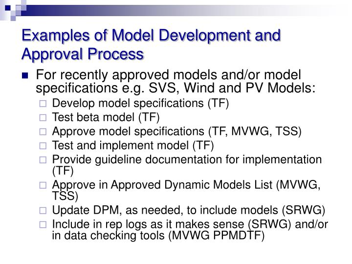 Examples of Model Development and Approval Process