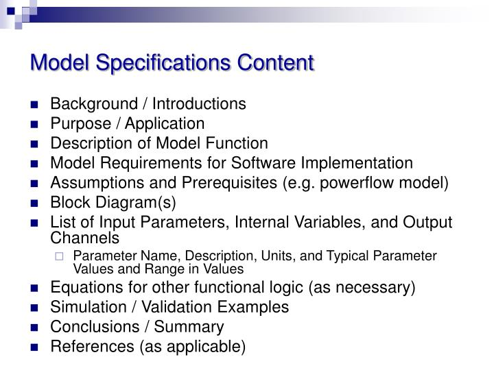 Model Specifications Content