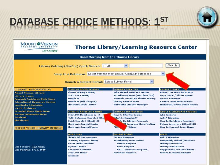 Database choice METHODS: 1