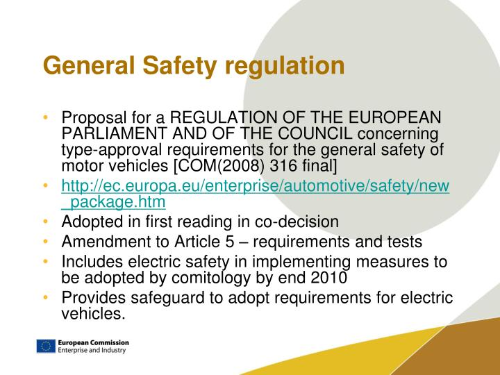 General Safety regulation