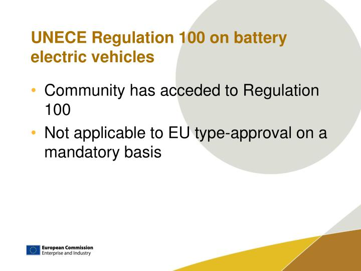 UNECE Regulation 100 on battery electric vehicles