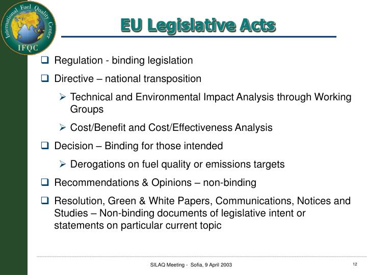 Regulation - binding legislation