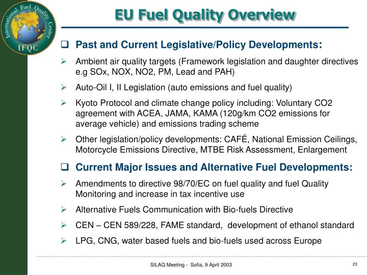 EU Fuel Quality Overview