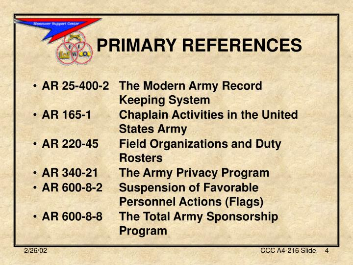 PRIMARY REFERENCES