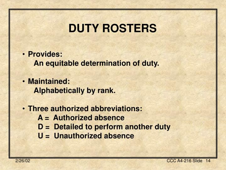 DUTY ROSTERS