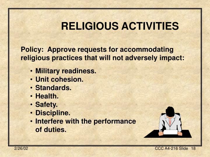 RELIGIOUS ACTIVITIES