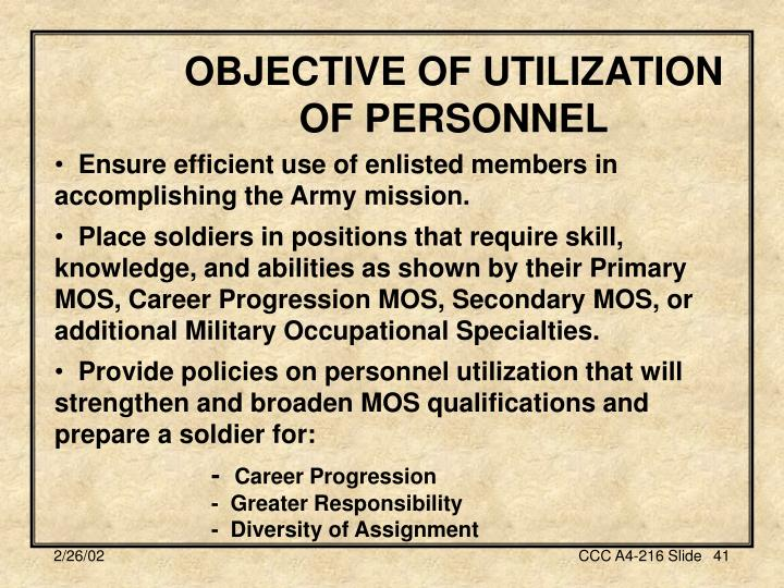 OBJECTIVE OF UTILIZATION