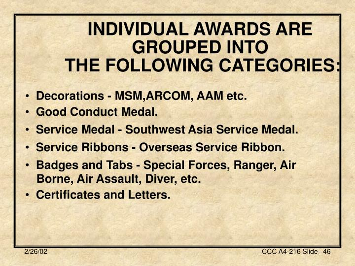 INDIVIDUAL AWARDS ARE GROUPED INTO