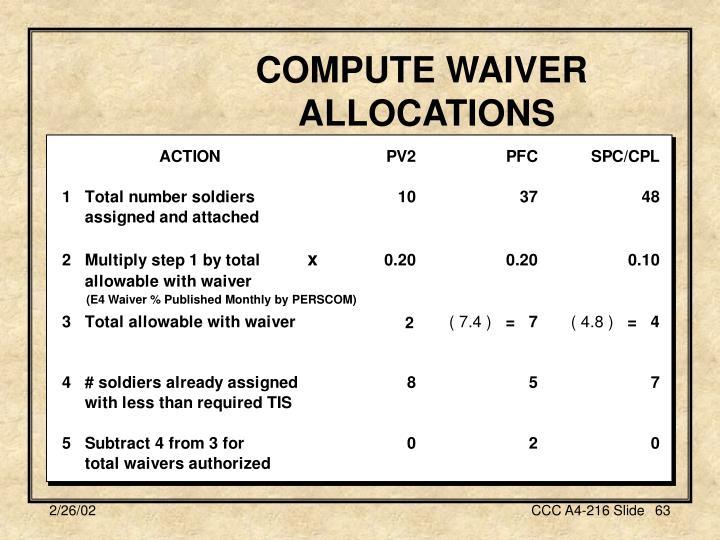 COMPUTE WAIVER