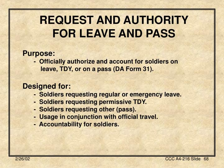 REQUEST AND AUTHORITY