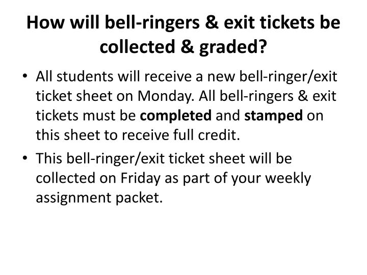 How will bell-ringers & exit tickets be collected & graded?