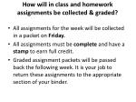 how will in class and homework assignments be collected graded