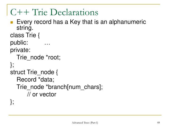 C++ Trie Declarations