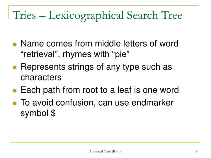 Tries – Lexicographical Search Tree