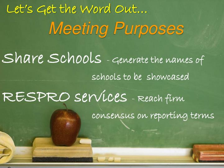 Let s get the word out meeting purposes