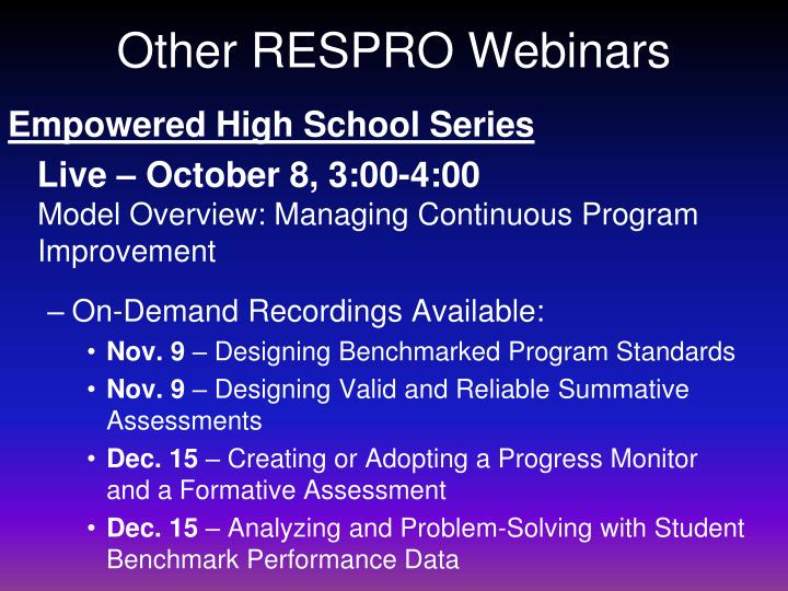 Other RESPRO Webinars