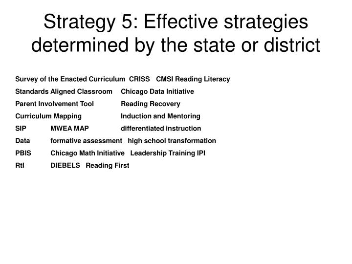 Strategy 5: Effective strategies determined by the state or district