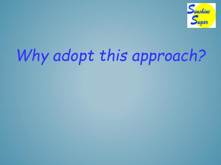 Why adopt this approach?