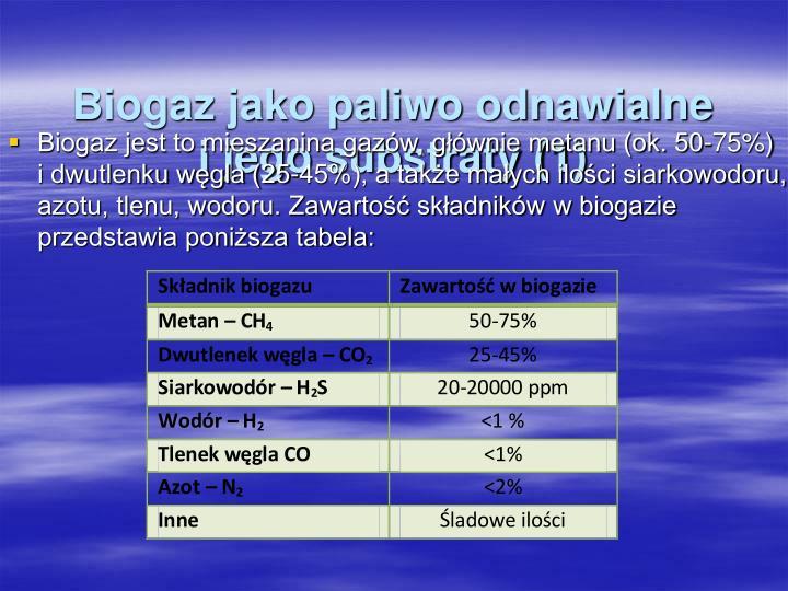 Biogaz jako paliwo odnawialne