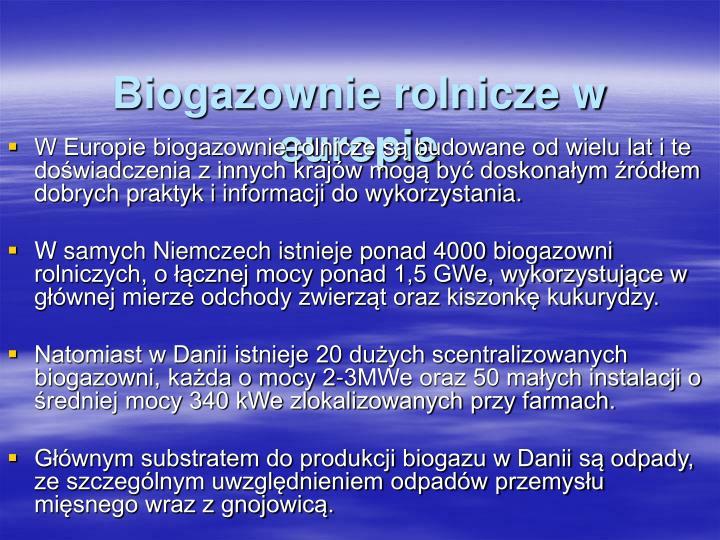 Biogazownie rolnicze w europie