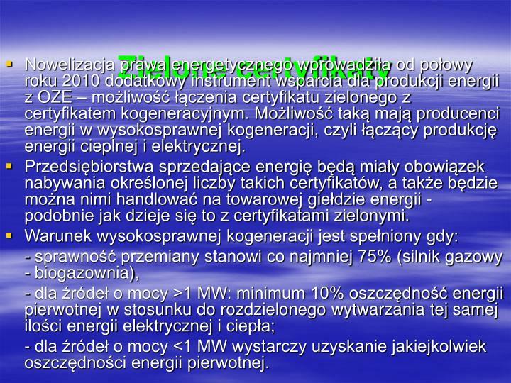 Zielone certyfikaty