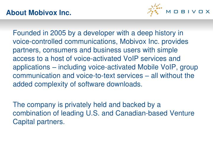 About mobivox inc
