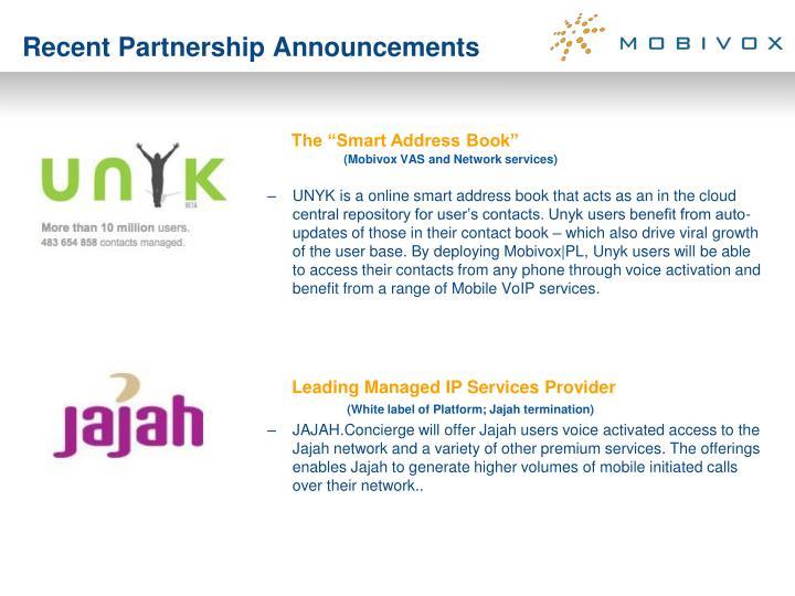 Recent Partnership Announcements