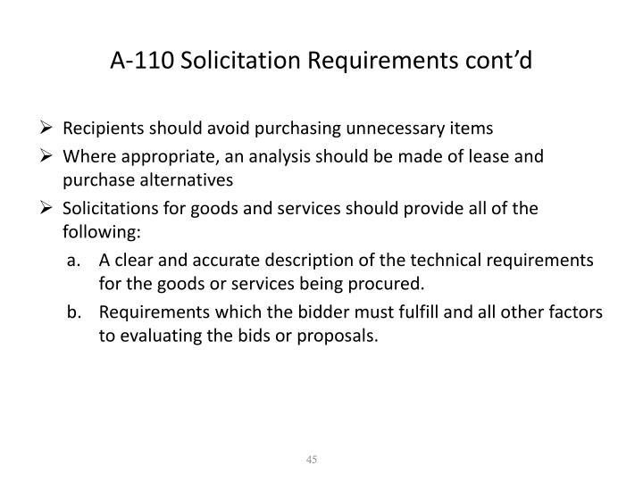 A-110 Solicitation Requirements cont'd