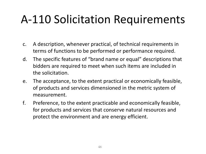 A-110 Solicitation Requirements