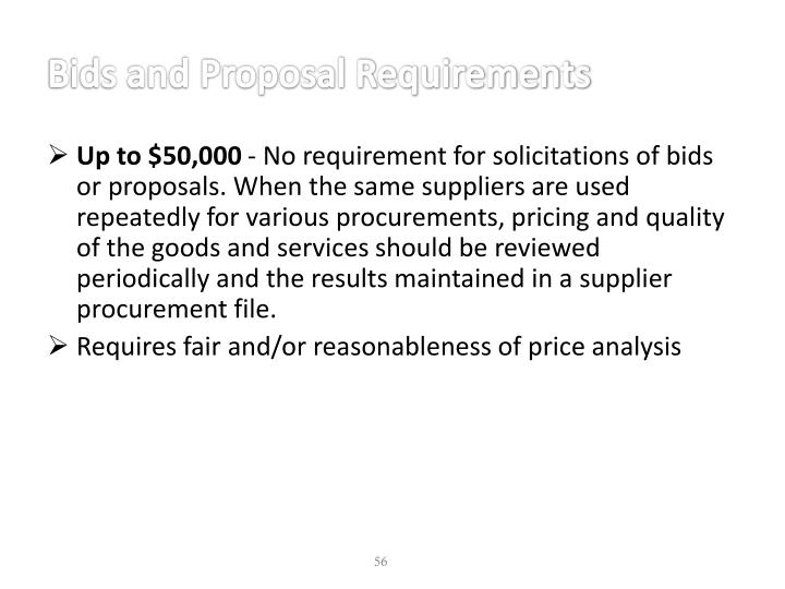 Bids and Proposal Requirements