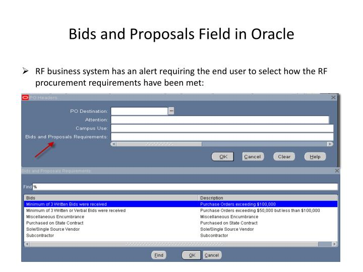 Bids and Proposals Field in Oracle