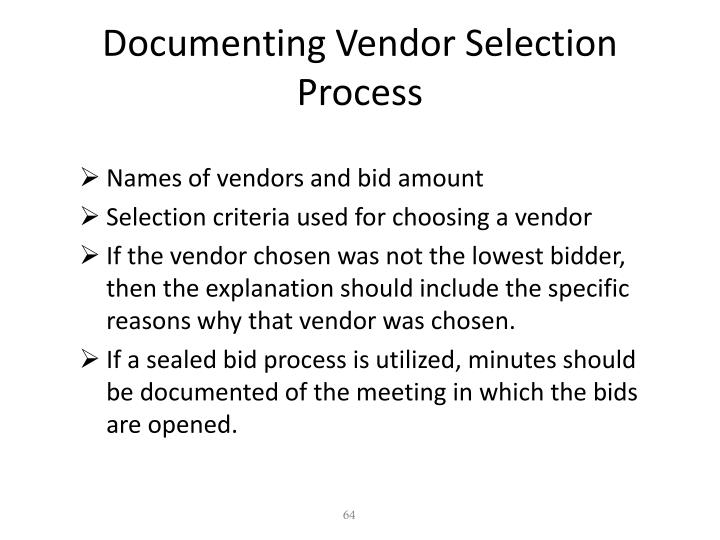 Documenting Vendor Selection Process