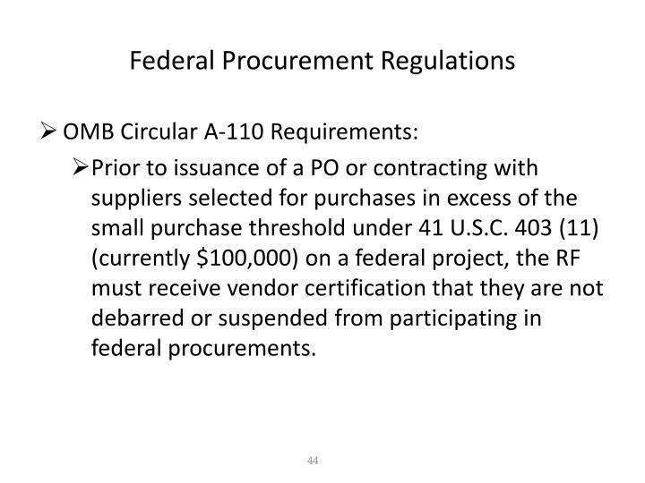 Federal Procurement Regulations