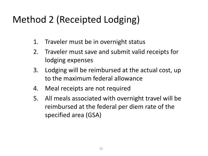 Method 2 (Receipted Lodging)