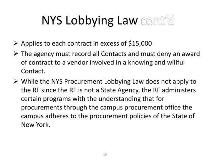 NYS Lobbying Law