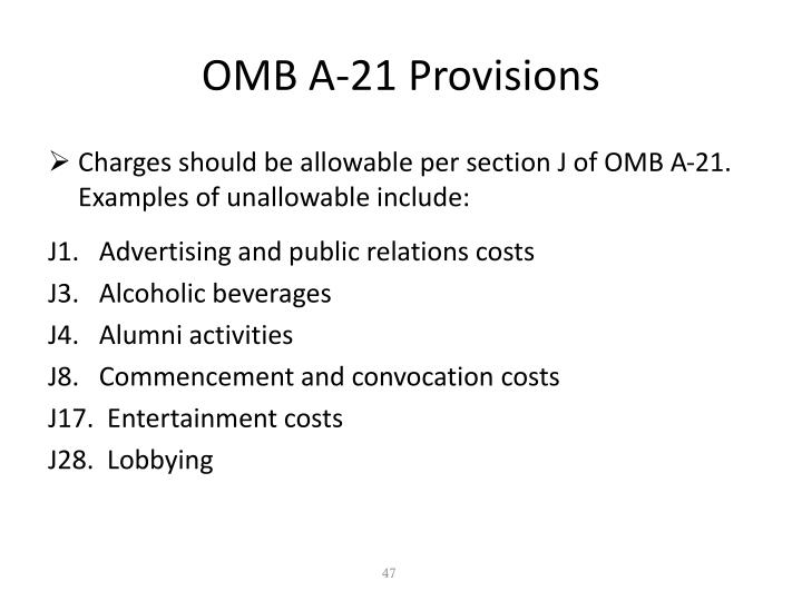 OMB A-21 Provisions