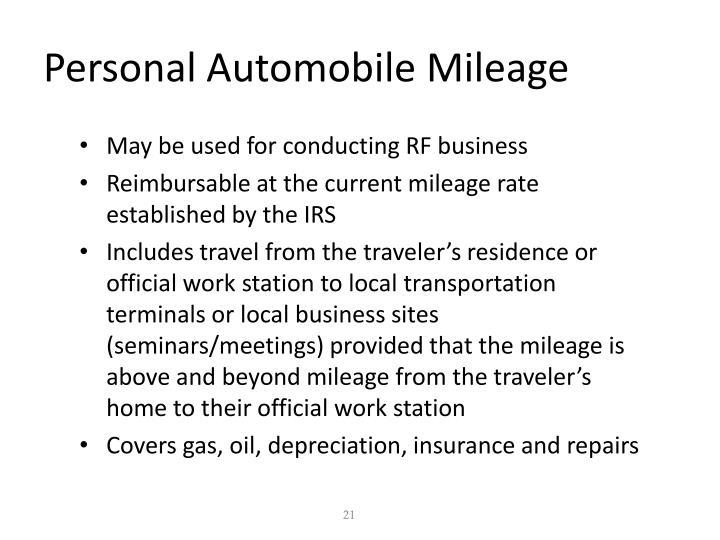 Personal Automobile Mileage