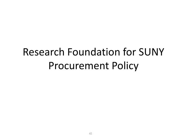 Research Foundation for SUNY Procurement Policy