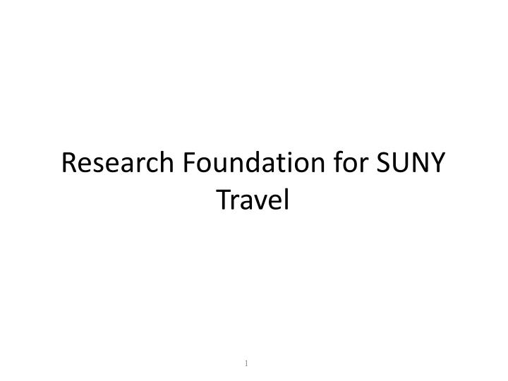 Research foundation for suny travel