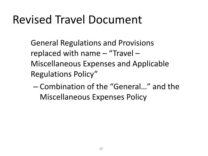Revised Travel Document
