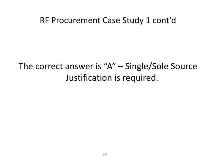 RF Procurement Case Study 1 cont'd