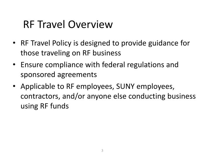 Rf travel overview