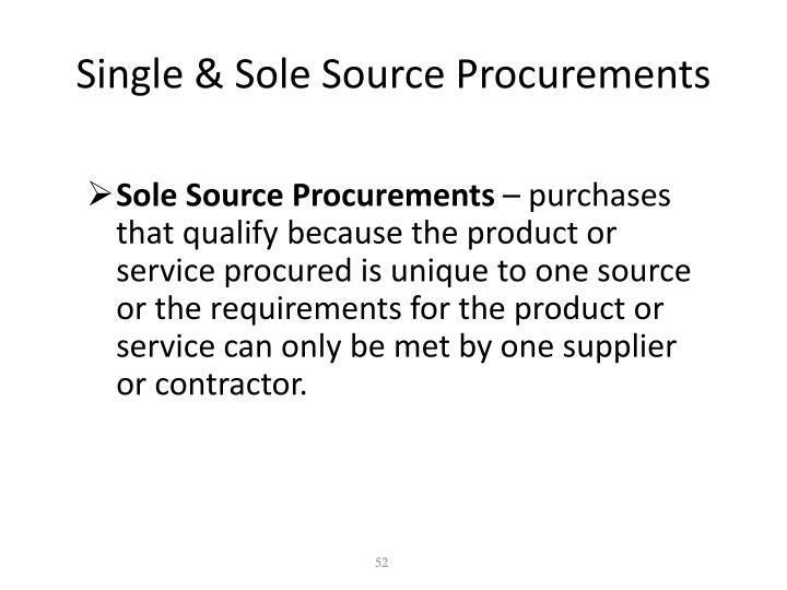 Single & Sole Source Procurements