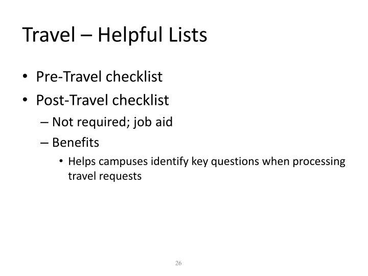 Travel – Helpful Lists